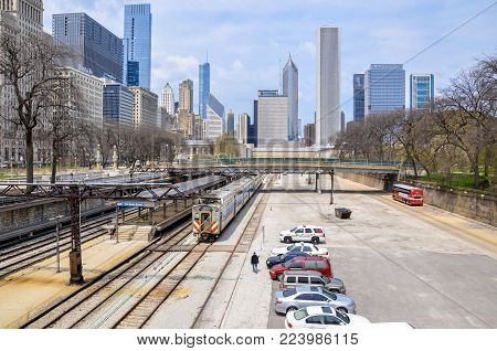 CHICAGO,IL - MAY 5, 2011 - Van Buren St. Metra station with Chicago skyline in background