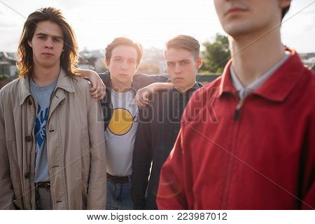 serious hipster gang. Teenage man friendship and loyalty. Bff support trust and unity