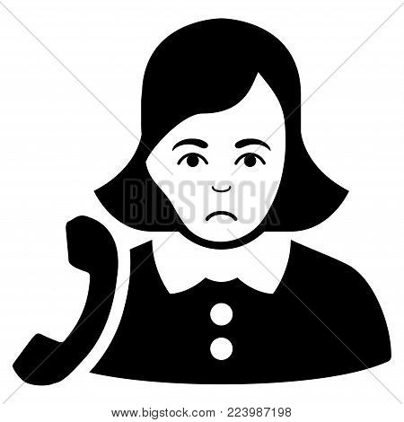 Unhappy Receptionist Woman vector pictogram. Style is flat graphic black symbol with sadly sentiment.