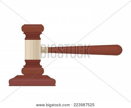 Dropped hammer of a judge on a white background. A symbol of justice. Vector flat illustration for your design.