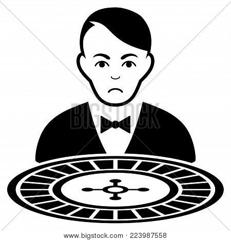 Sadly Roulette Croupier vector pictogram. Style is flat graphic black symbol with sorrow feeling.