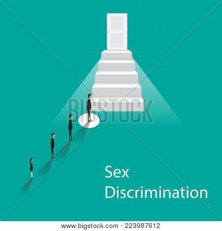 Gender discrimination concept. Female discrimination at work. Vector flat cartoon illustration