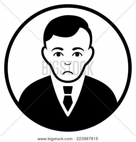 Unhappy Rounded Gentleman vector pictograph. Style is flat graphic black symbol with unhappy expression.