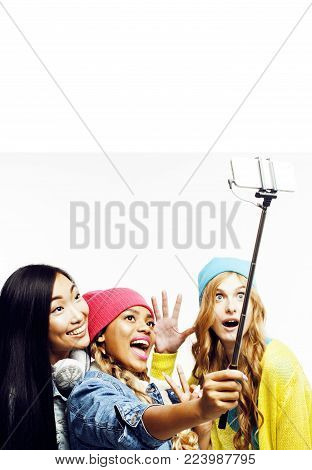 diverse multi nation girls group, teenage friends company cheerful having fun, happy smiling, cute posing isolated on white background, lifestyle people concept, african-american and caucasian close up