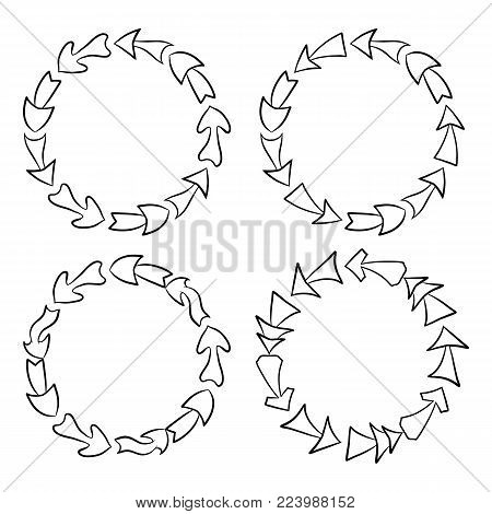 Set of round black and white frames with hand drawn arrows. Vector background for your design.