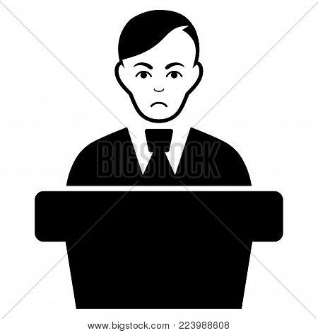Sadly Speaker Gentleman vector pictogram. Style is flat graphic black symbol with affliction feeling.