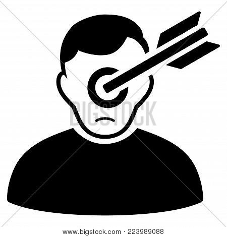 Sad Target Man vector pictograph. Style is flat graphic black symbol with sorrow emotion.