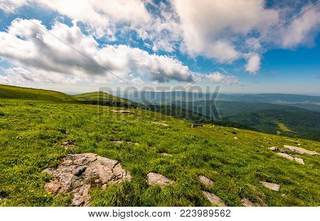 grassy slope on fine summer day. beautiful landscape with peak in the distance. lovely nature scenery under the cloudy sky
