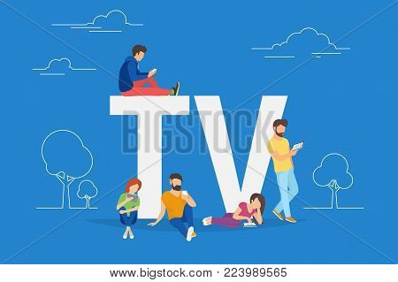 Mobile tv concept vector illustration of young people using mobile smartphone and tablets apps for watching tv shows and using streaming services. Flat guys and women standing near letters TV on blue