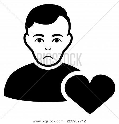 Pitiful User Favourites Heart vector pictogram. Style is flat graphic black symbol with depressed feeling.