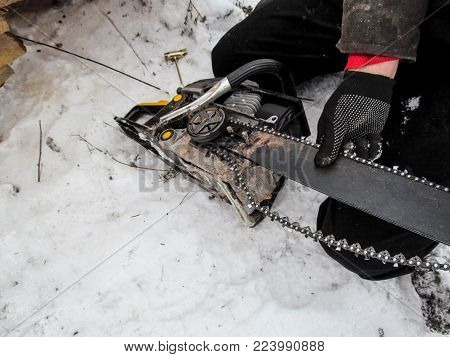 The worker changes and adjusts the chain on the chainsaw, preparing it for cutting down trees and sawing firewood in winter on snow. A male hand in a black glove holds the blade of a chainsaw and the chain sags, and on the ground lie tools