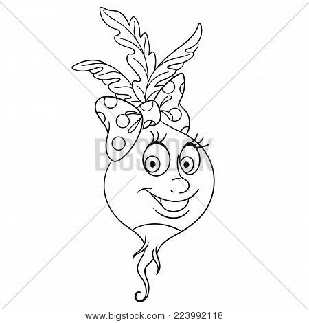 Coloring page. Cartoon Radish. Happy Vegetable character. Eco Food symbol. Design element for kids coloring book, t-shirt print, icon, logo, label, patch, sticker.
