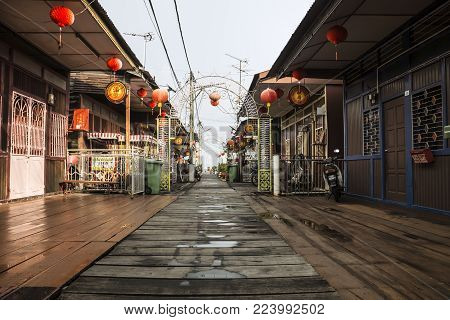 Georgetown, Malaysia - 2 May 2017: Chinese Clan Jetty after rain in Georgetown, Penang, Malaysia