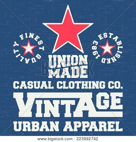 T-shirt print design. Vintage denim and t shirt stamp. Printing and badge applique label for t-shirts, jeans, casual wear. Vector illustration.