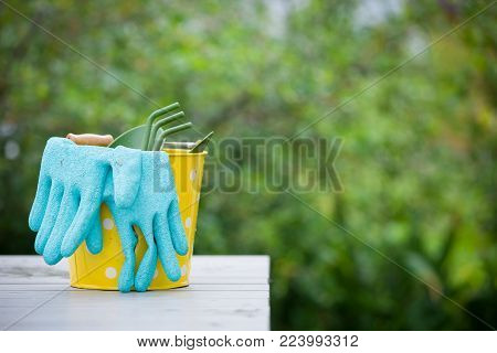 Yellow bucket with garden tools and Rubber blue safety gloves on the table in the garden. Hand shovel and gardening rake  with gloves on wooden board.  Agriculture and gardening concept.