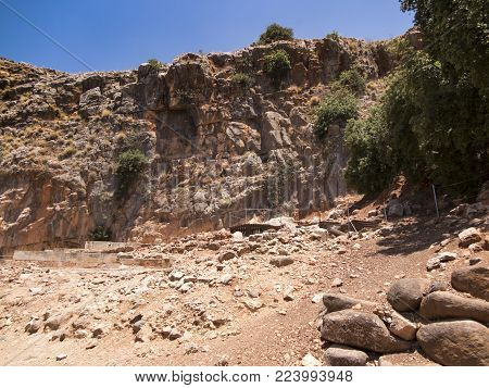 Architectural antiquities in natural reservation of Hermon river (Banyas) - Cult center of the God Pan, north of Israel