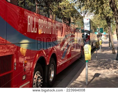 PHOENIX, AZ, USA - DECEMBER 14, 2017:  Charter and school buses closely parked for a special event in city downtown