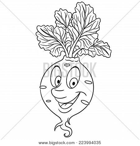 Coloring page. Cartoon Beet. Happy Vegetable character. Eco Food symbol. Design element for kids coloring book, t-shirt print, icon, logo, label, patch, sticker.