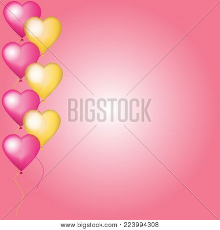 Valentine vector card with pink and golden helium balloons.  Design for wedding, anniversary, Valentine's day, party, banner, poster, card, invitation, brochure, flyer. Mock up.