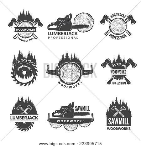 Badges set for wood working industry. Woodwork logo emblem industry, lumberjack woodworking. Vector illustration