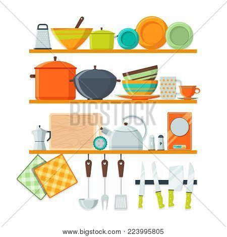 Kitchen tools and restaurant equipment on shelves. Kitchen shelf with kitchenware and utensil, vector illustration