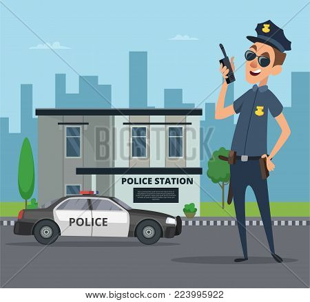 Building of police station and cartoon character of policeman. Policeman officer cartoon cop, vector illustration