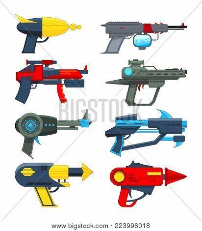 Different futuristic weapons. Shooting guns for video games. Gun pistol, weapon handgun futuristic lazer, vector illustration
