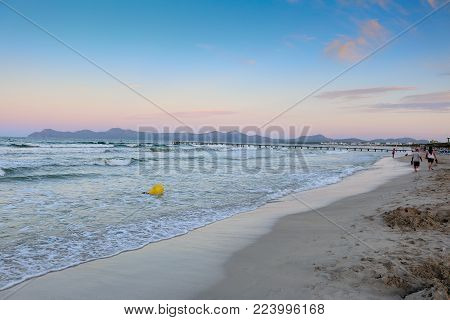 September 6th, 2015, Playa de Muro Beach, Alcudia, Mallorca, Spain - beautiful six kilometres long Blue Flag, white sandy beach in the north of Mallorca.
