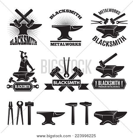 Industrial logo set. Labels for blacksmith. Vector design template with place for your text. Blacksmith and workshop, hammer and anvil emblem illustration poster