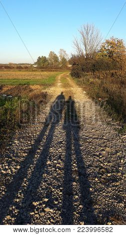 Shadow of two people on the country road with a view of the abandoned fields plunged into high and dry grass reminding of the bushes, large trees and the distant road