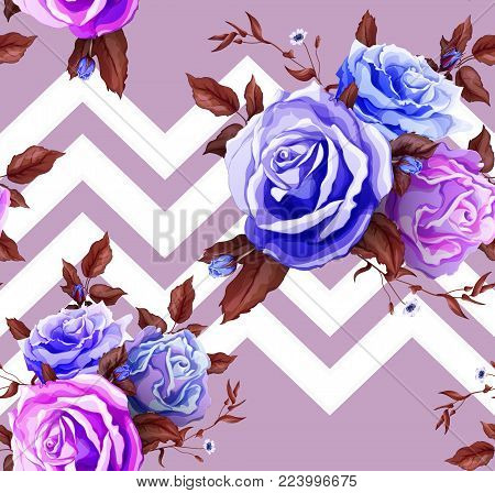 Flowers and leaves floral vintage retro wedding fashion seamless pattern with blue rose bouquet blossoms blooming. Vector illustration, wallpaper background with geometric figure stripes
