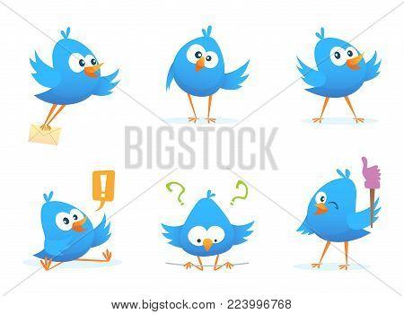 Flying blue birds in cartoon style. Cartoon blue animal bird flying with message. Vector illustration
