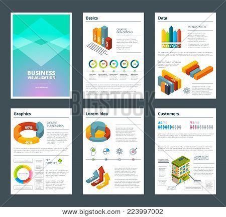 Design of annual reports with colored pictures of charts. Business report template with chart and graphic illustration vector