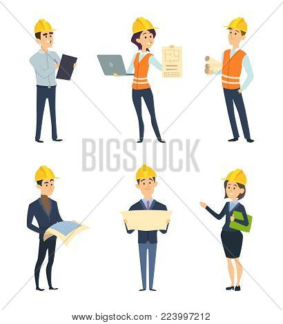 Industrial workers. Male and female architect and engineering. Vector worker construction, female and male engineering and builder character illustration