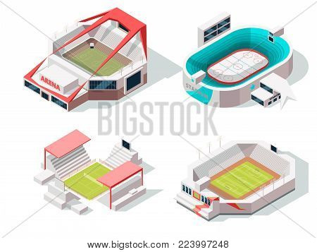 Exterior of stadium buildings hockey, soccer and tennis. Isometric pictures stadium, building sport arena, vector illustration