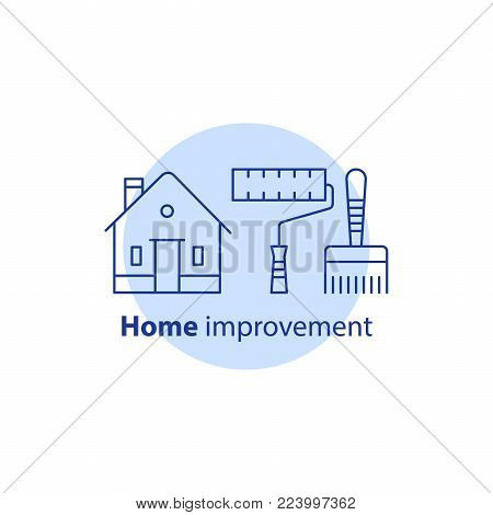 House paint services, home improvement concept logo, residential building renovation, paintbrush and paint roller tools, vector line icon