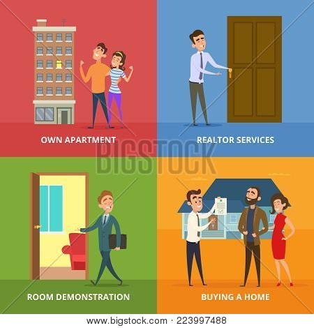 Happy family buying real estate buildings. Vector real estate house, residential property apartment illustration