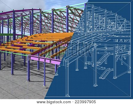 The 3D model of the construction of sports buildings from metal constructions. Engineering, industrial and construction background. 3D rendering. Blueprint.