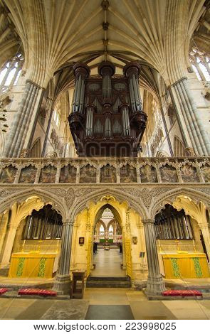 Exeter, Devon, England, 15 July 2016: The interior of the Exeter Cathedral. The organ is clearly visible