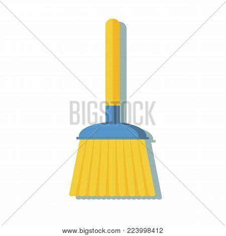 broom made from twigs on a long wooden handle. vector illustration. tool for cleaning isolated on white background. Witches broom stick.