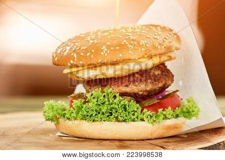 Close up big hamburger. Tall hamburger closeup.