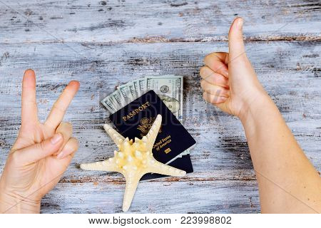 Passport and money and tickets for the rest. Still life of the traveler. rest passport money for rest