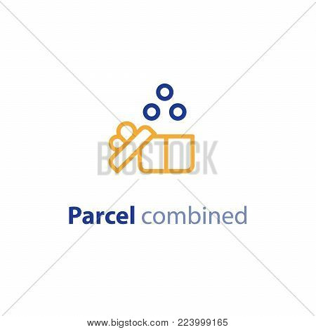 Combined order delivery services, shipping parcel, shipment options, vector line icon set