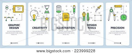 Vector set of vertical banners with Graphic design, Creativity, Illustration, Design tools, Precision website templates. Modern thin line flat style design.