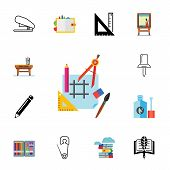 Icon set of stationary. Icon set of stationary. School, drafting, drawing. Craft concept. Can be used for topics like leisure, art, education poster