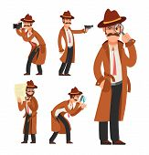 Cartoon private detective. Police inspector vector character set. Police detective and inspector cartoon character illustration poster