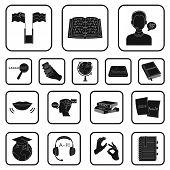 Translator and linguist black icons in set collection for design. Interpreter vector symbol stock  illustration. poster