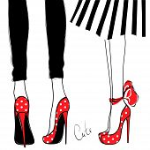 Vector girls in high heels. Fashion illustration. Female legs in shoes. Cute design. Trendy picture in vogue style. Fashionable women. Stylish ladies. poster