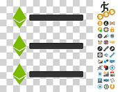 Ethereum List icon with bonus bitcoin mining and blockchain pictograms. Vector illustration style is flat iconic symbols. Designed for cryptocurrency apps. poster