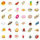 Eat greedily icons set. Isometric set of 36 eat greedily vector icons for web isolated on white background poster